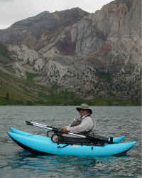 John tries out new pontoon boat on Convict Lake
